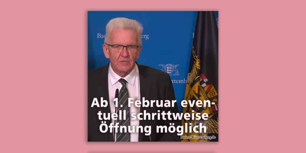 Ministerpräsident zur Verlängerung des Lockdowns: Alles bis 14.02. zu – außer vielleicht Kitas und Grundschulen